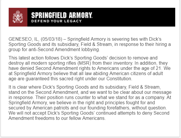 Springfield Armory Severs Ties with Dick's Sporting Goods
